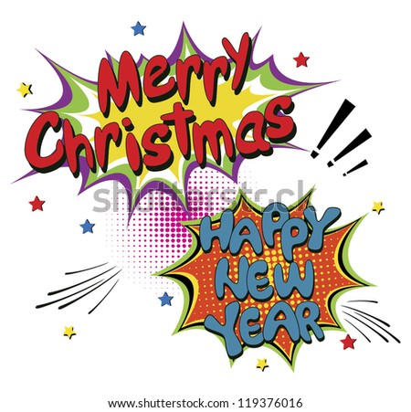 Merry Christmas, Comic speech bubbles. Vector Illustration - stock vector