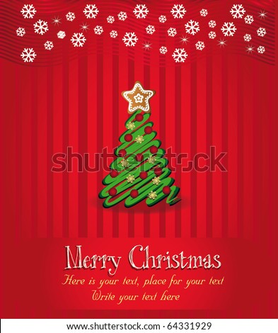 Merry Christmas congratulation vector, Red background