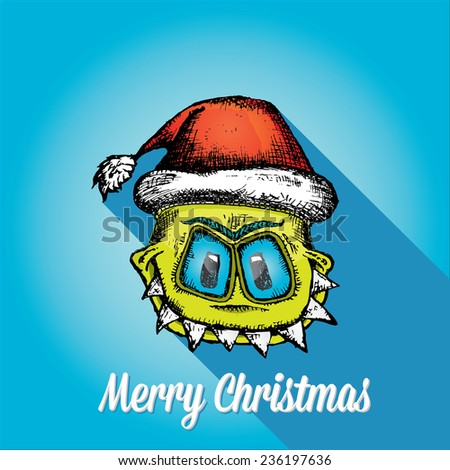 merry christmas creative card with monster and santa hat - stock vector