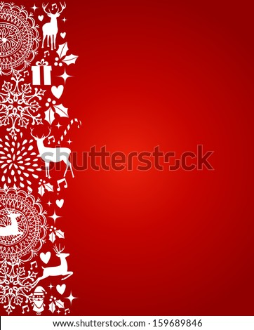 Merry Christmas decoration elements template red postcard background. Vector file organized in layers for easy editing. - stock vector