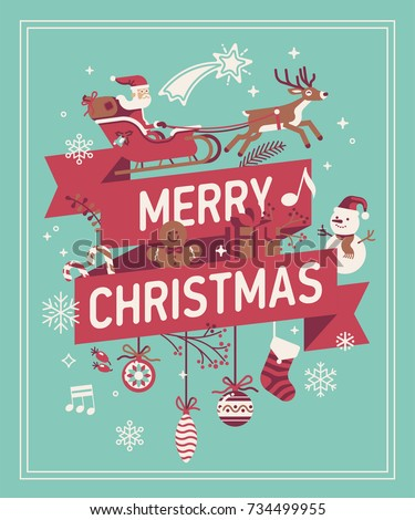 Merry christmas decorative background vector banner stock vector merry christmas decorative background vector banner poster or greeting card template on merry xmas m4hsunfo