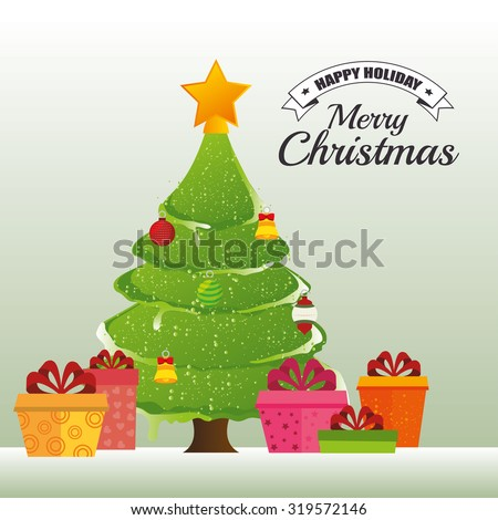 Merry christmas decorative stuffs and pine tree design, vector illustration eps 10.