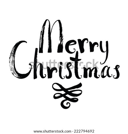 Merry Christmas design card with vignette - stock vector