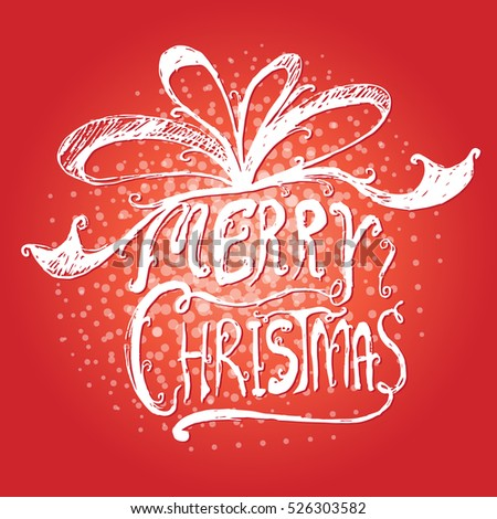 Merry Christmas design on red background-vector