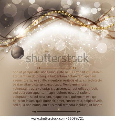 Merry Christmas Elegant Background for Greetings Card with balls, snowflakes and sparks - stock vector