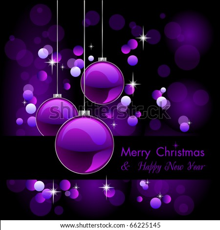 merry christmas elegant purple background with baubles - stock vector