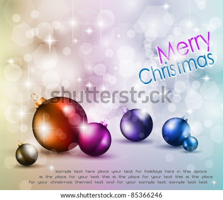 Merry Christmas Elegant Suggestive Background for Greetings Card with glitter lights and stunning baubles. - stock vector