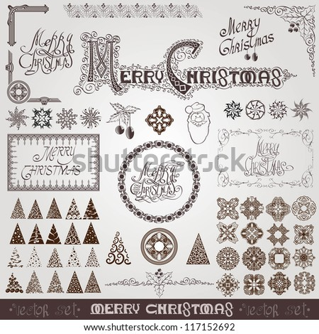 merry christmas element collection - stock vector