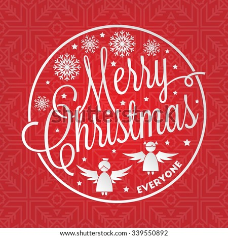 Merry Christmas everyone lettering with seamless winter pattern for your greeting card design - stock vector