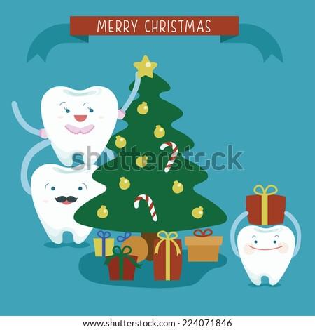Merry Christmas family dental - stock vector