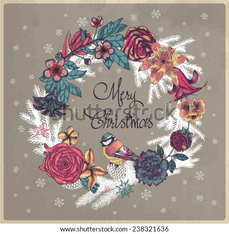 Merry Christmas floral illustration with bird - stock vector