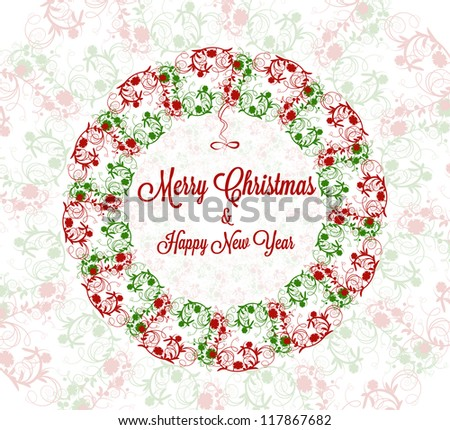 Merry Christmas flowers Card - stock vector