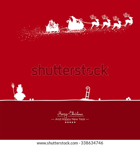 Merry Christmas - Flying Santa Claus Shape with Reindeer on Red Background Silhouette. Snowman with Sled on the Ground - Vector Greeting Card, Christmas Card. Holiday Season Template Illustration. - stock vector