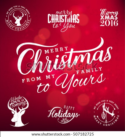 merry christmas from my family to yours design elements on red shiny background typography template