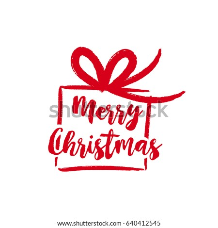 Merry christmas gift text quote calligraphy stock vector 640412545 merry christmas gift text quote calligraphy lettering design for holiday season creative red typography negle Image collections