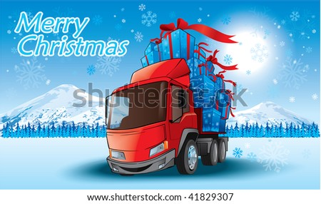 merry christmas gifts on a truck - stock vector