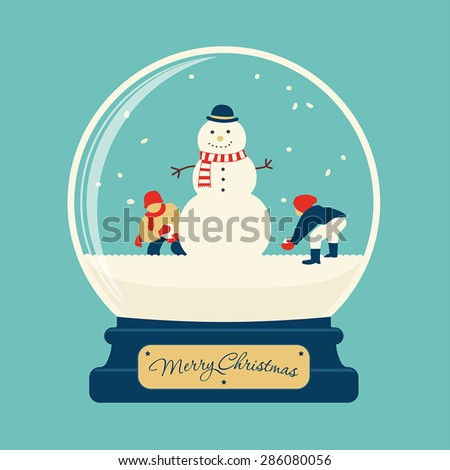 Merry christmas glass ball with snowman and children playing at snow - stock vector
