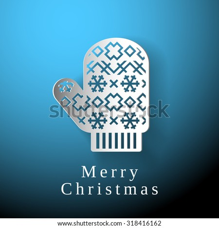 Merry Christmas glove, white paper glove on blue background - stock vector