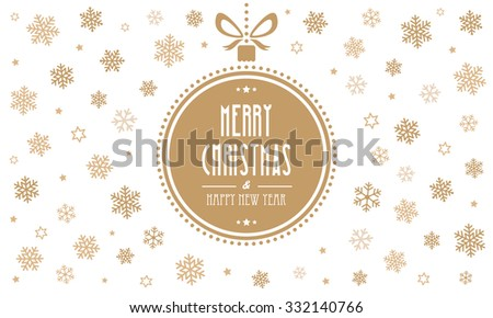 merry christmas gold ball snowflakes white background - stock vector