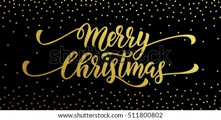 Merry Christmas Gold Glitter Lettering Design Greeting Card Poster Banner Vector