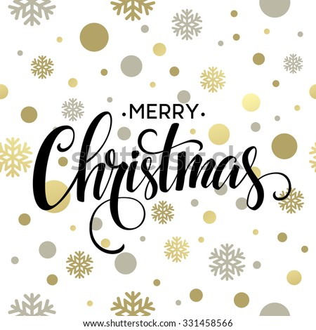 Merry Christmas gold glittering lettering design. Vector illustration EPS 10 - stock vector