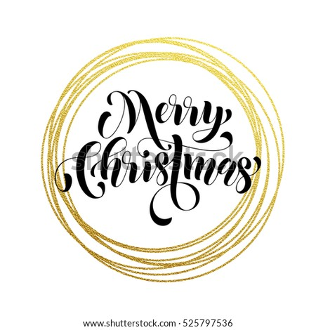 Merry Christmas Gold Greeting Card Golden Stock Vector