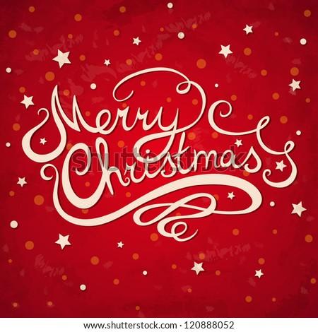 Merry Christmas greeting card - stock vector