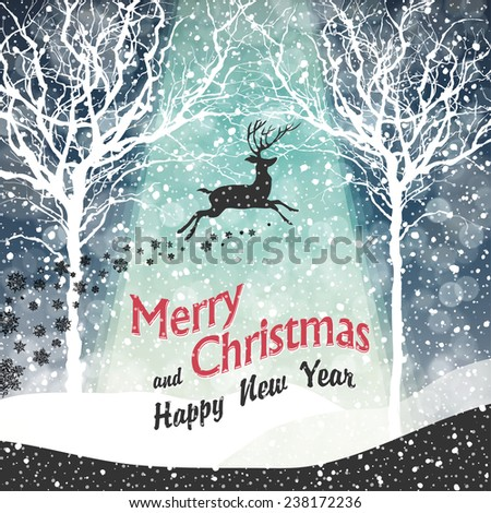 Merry Christmas Greeting Card - stock vector