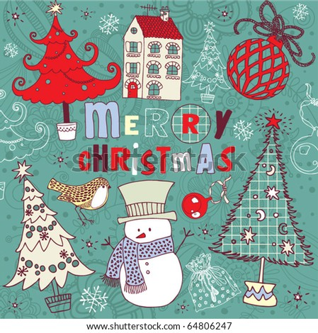Merry Christmas, greeting card - stock vector