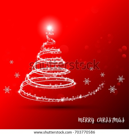 Merry Christmas Greeting Card and white tree on red abstract bokeh background.Ideal for greeting card or elegant holiday party invitation. Vector illustration EPS 10