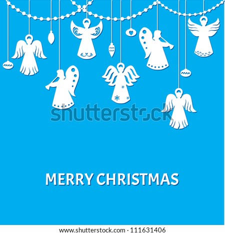 Merry Christmas Greeting Card - Angels - paper cut style - in vector - stock vector