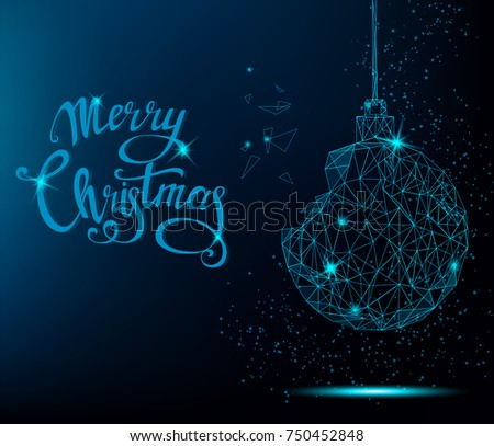 Merry christmas greeting card blue christmas stok vektr 750452848 merry christmas greeting card blue christmas tree ball with handwritten lettering bright polygonal decoration m4hsunfo