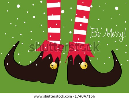 merry christmas greeting card, christmas cartoon elf's legs on green background