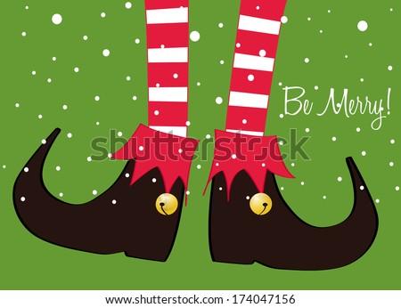 merry christmas greeting card, christmas cartoon elf's legs on green background  - stock vector