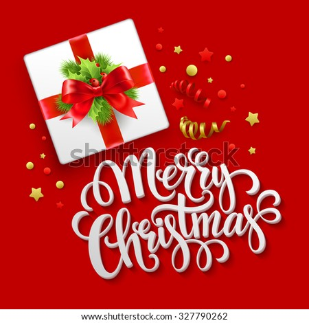 Merry Christmas greeting card. Christmas gift box.  Vector illustration EPS 10 - stock vector