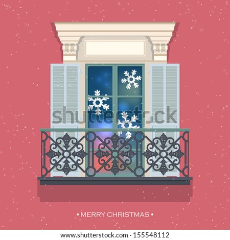 Merry christmas greeting card design french window with for Balcony vector