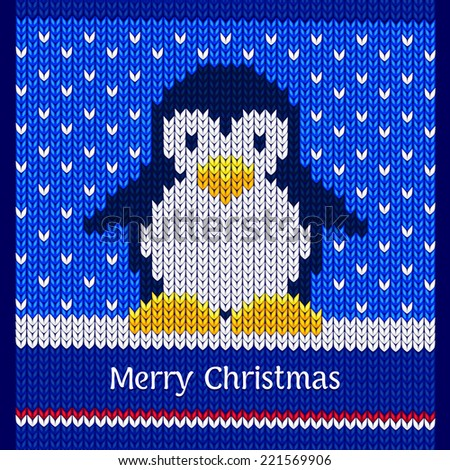 Merry Christmas greeting card design, vector illustration, winter knitted pattern with cute penguin - stock vector