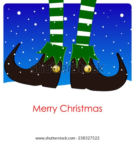 merry christmas greeting card, green elf's legs under a soft snowfall