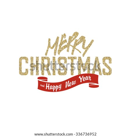 Merry Christmas Greeting Card on White Background. Glittering golden surface - stock vector