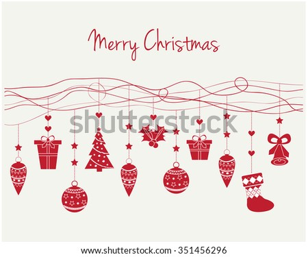Merry Christmas Greeting Card or Background. Vector Illustration.
