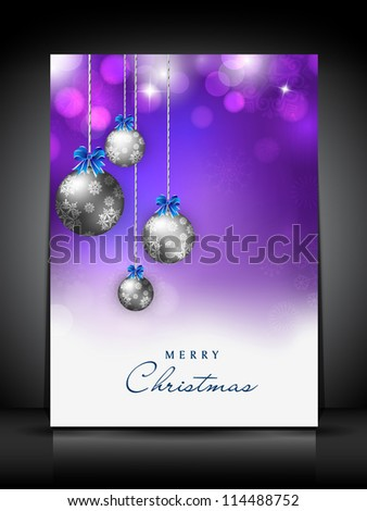 Merry Christmas greeting card or gift card decorated with snowflakes and eve balls.EPS 10. - stock vector