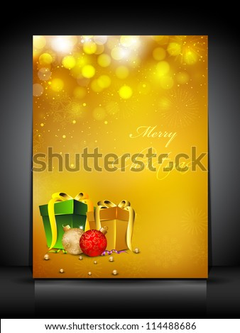 Merry Christmas greeting card or gift card decorated with snowflakes and gift boxes. EPS 10. - stock vector