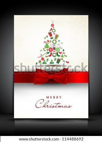 Merry Christmas greeting card or gift card decorated with Xmas tree and red ribbon. EPS 10. - stock vector