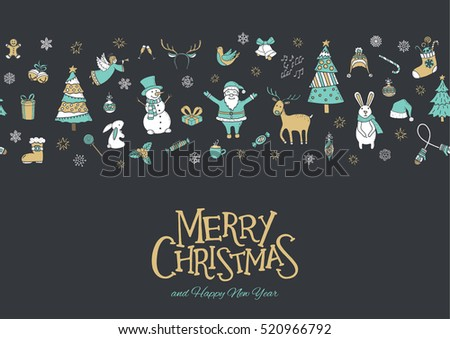 Merry Christmas greeting card, poster and banner. Christmas elements, seamless pattern background.