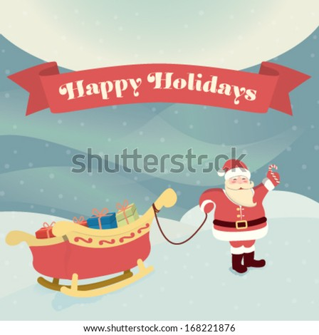 Merry Christmas Greeting Card   Santa Clause on snowy backgorund - stock vector