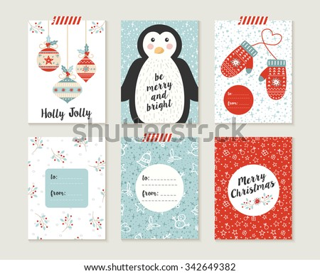 Merry Christmas greeting card set with cute penguin, xmas bauble decoration and winter mittons retro designs. Includes holiday themed seamless patterns. EPS10 vector. - stock vector