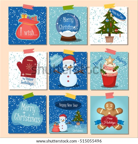Merry Christmas greeting card set with snow background. Christmas greeting card winter holiday background. Merry Christmas lettering vector illustration winter background. Paper postcard gift.