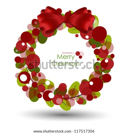 Merry Christmas Greeting Card, vector illustration. - stock vector