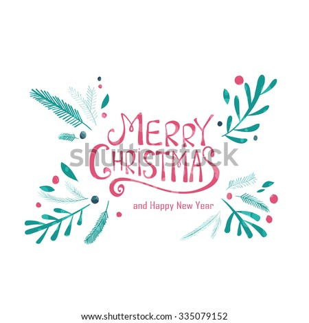 Merry Christmas greeting card. Winter wreath with pine branches. Hand drawn Christmas Holiday design for greeting cards, calendars, posters, prints, invitations. - stock vector