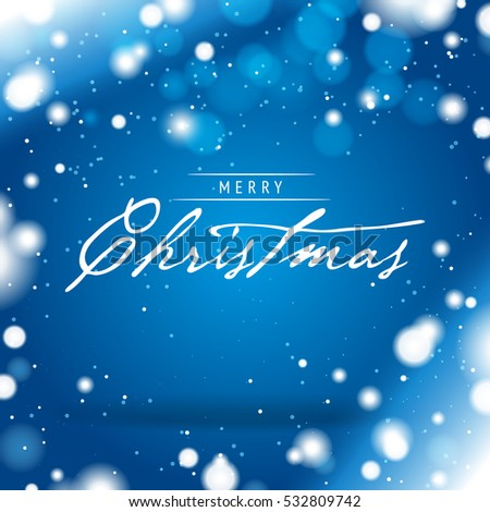 Merry Christmas Greeting Card with a Blue Snowy Background
